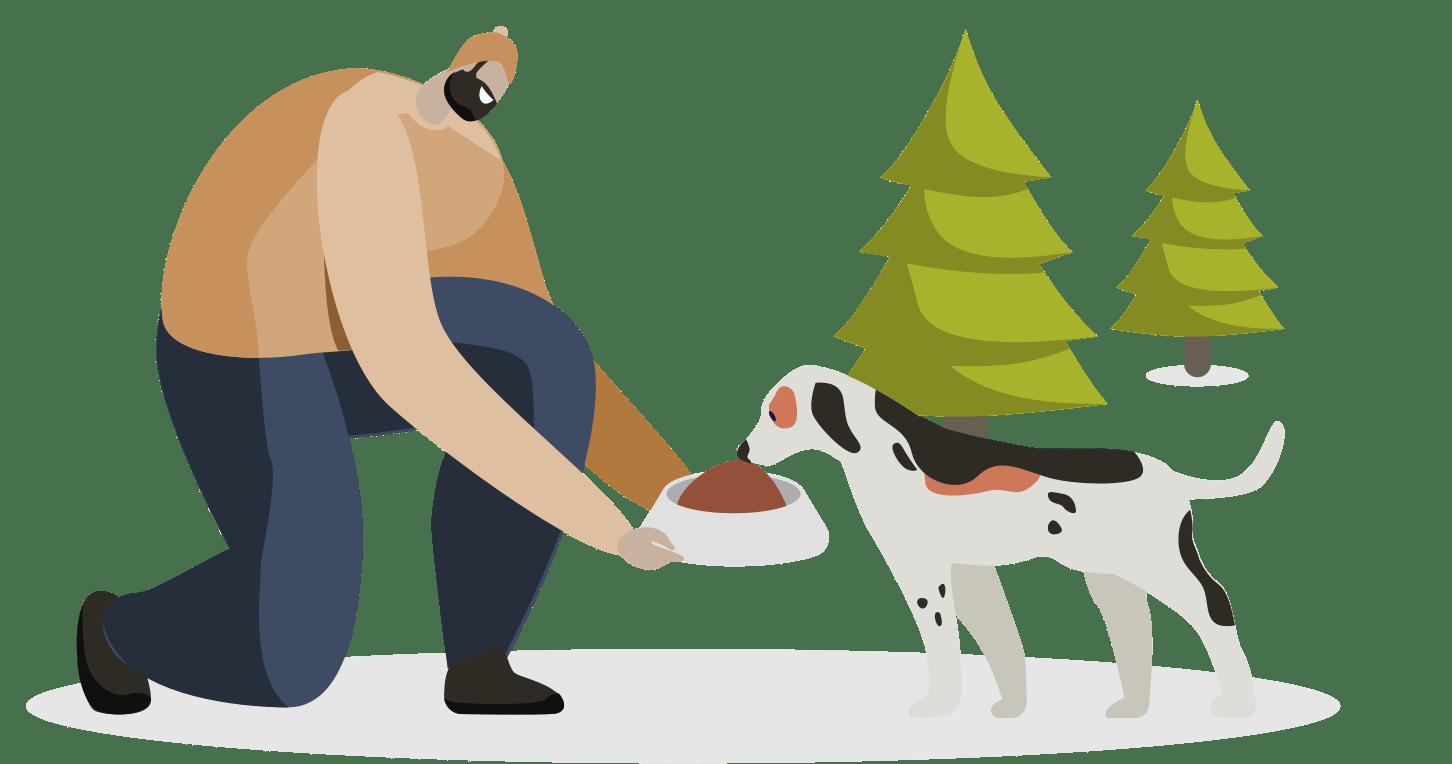 Illustration d'un homme et d'un chien